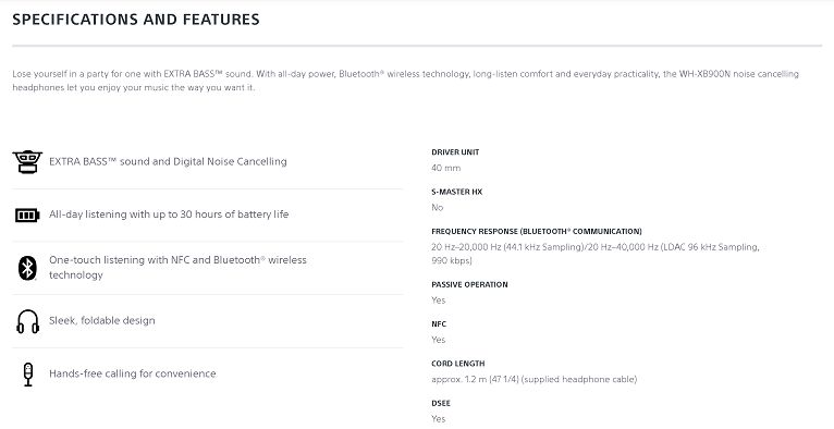 Sony WHXB900/N specifications