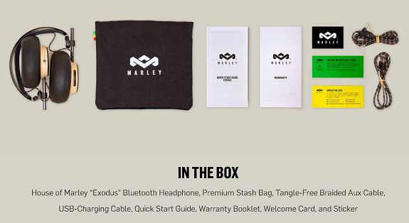 House of Marley Exodus in-box content